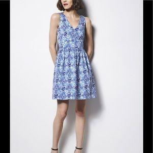 Milly Fit Flare Short Dress Sz 10 Blue Dutch Tulip